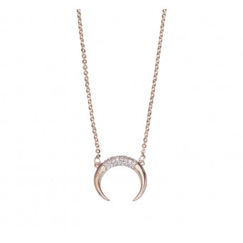 Mc Rose stainless steel double horn necklace