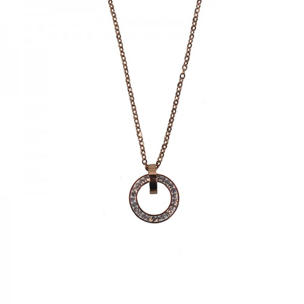 Jt Steel 'Circle' necklace rose gold with white crystals