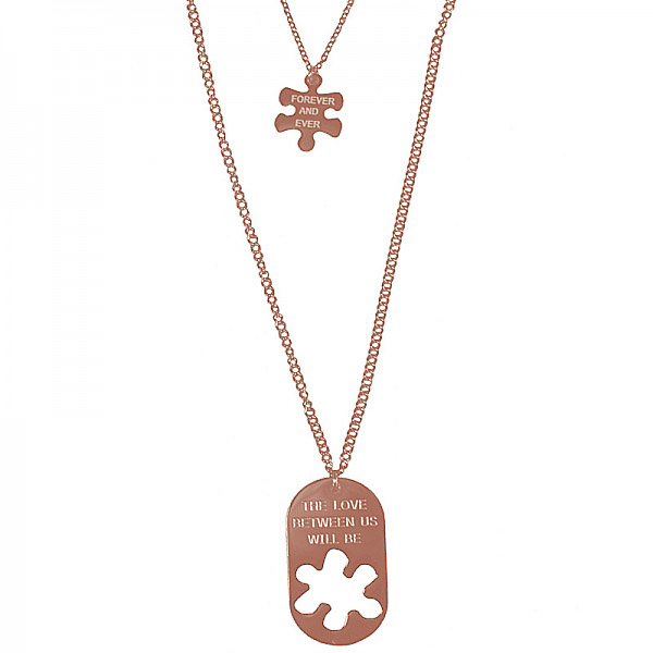 Jt Long double stainless steel Love puzzle necklace