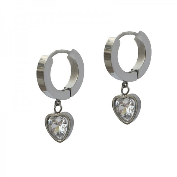 Jt  Small stainless steel hoop earrings heart white crystlal