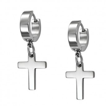 Jt Men's small thick stainless steel hoop earrings with cross