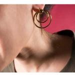 Jt Ατσάλινα καρφωτά χρυσά σκουλαρίκια δύο κρίκοι