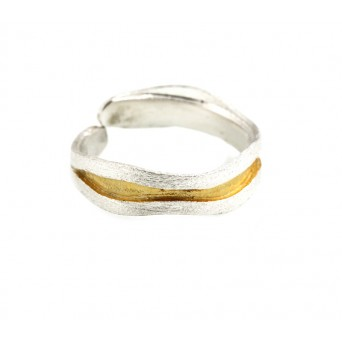 Stelios Gold plated silver band ring