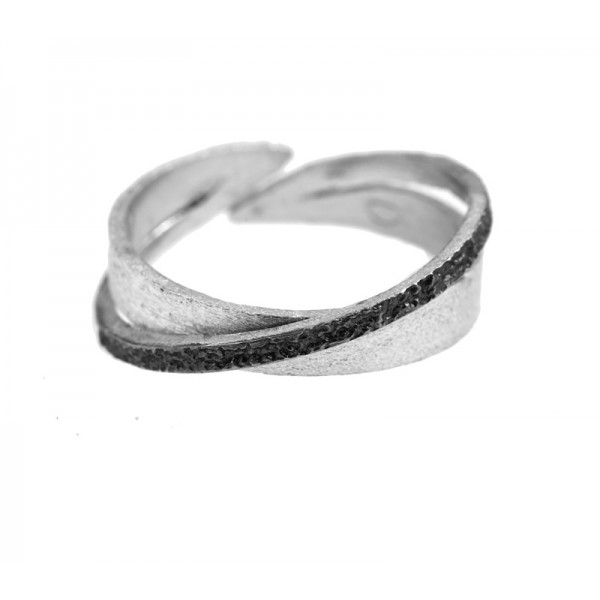 Stelios Black and white sterling silver band ring