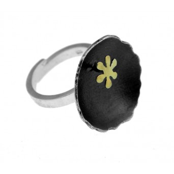 Stelios Black rodium and gold plated silver circle ring