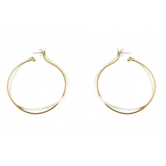 Stelios Silver and gold plated silver double hoop earrings