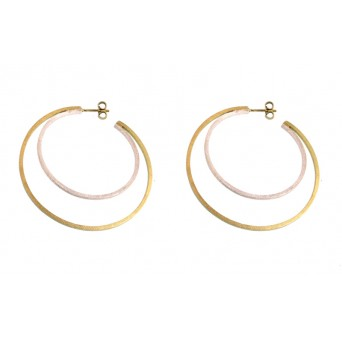 Stelios Silver and gold plated double hoop earrings