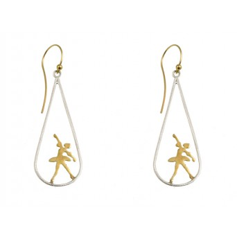 Stelios Silver and gold plated ballerina hook earrings