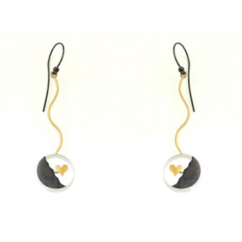 Stelios Black and gold plated silver heart earrings