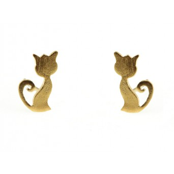 Stelios Gold plated silver cat stud earrings