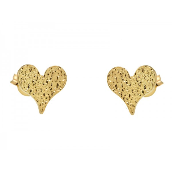 Stelios Gold plated silver heart stud earrings