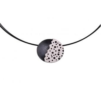 Stelios Black and white silver round  pendant on collar