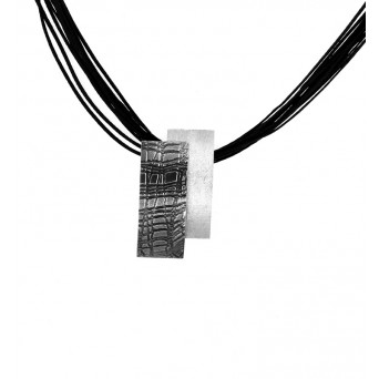 Stelios Black and white silver necklace on black candle cords