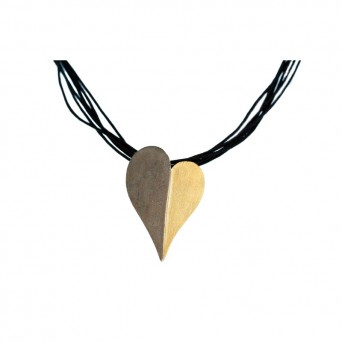 Stelios Silver heart  pendant on black candle cords