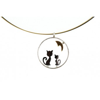 Stelios Handmade cats and moon silver necklace