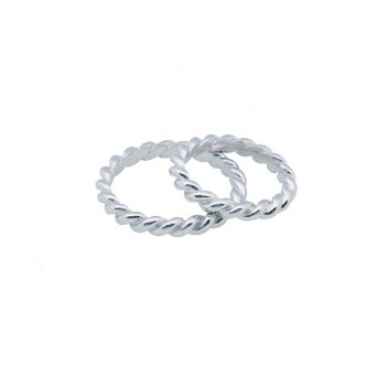 Jt White Gold Twisted Wedding Bands 3mm