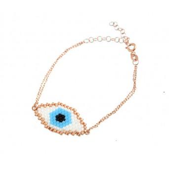 VFJ Rose gold plated silver miyuki eye charm bracelet