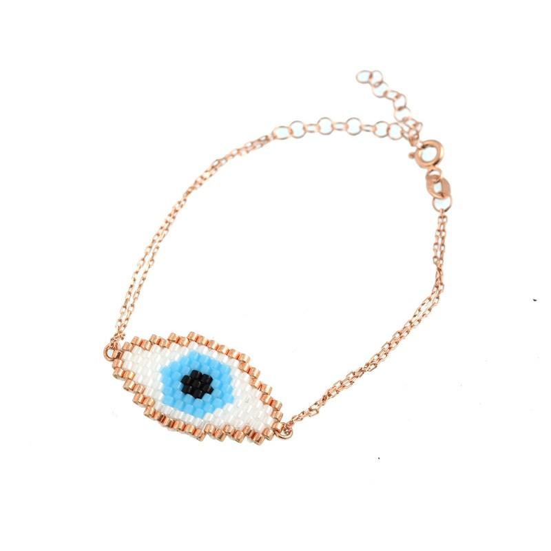 VFJ Βραχιόλι μάτι από ροζ επιχρυσωμένο ασήμι και χάντρες Miyuki 08a449b1a7b