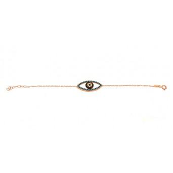 VFJ Rose gold silver turquoise zirconia eye charm bracelet