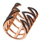 VFJ Ασημένιο δαχτυλίδι τρίγωνα ροζ χρυσό με μαύρα ζιργκόν