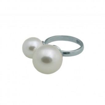 VFJ Sterling silver double pearls ring