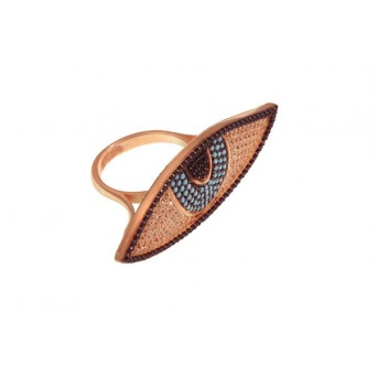 VFJ Statement evil eye ring with rose gold and zirconia