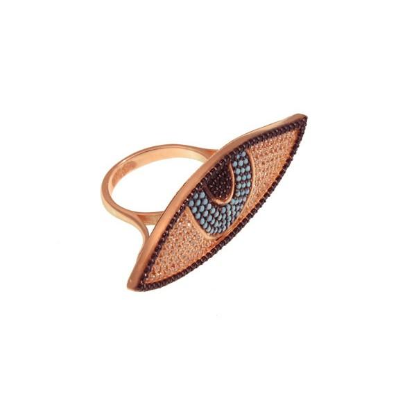 VFJ Εντυπωσιακό δαχτυλίδι μάτι ροζ χρυσό με ζιργκόν