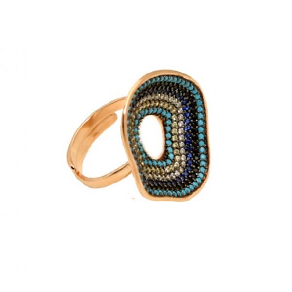 VFJ Silver circle ring with multicolor zirconia