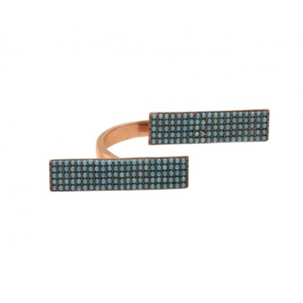 VFJ Silver rectangle ring with rose gold and turquoise