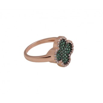 VFJ Silver cross ring with rose gold and green zirconia