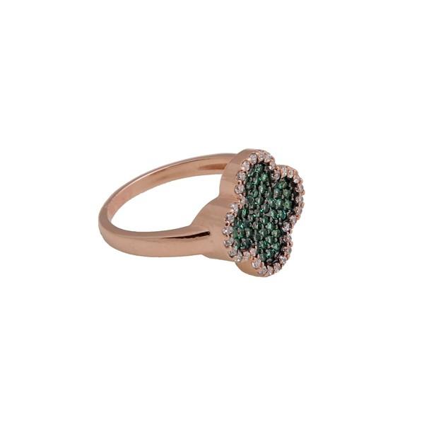 VFJ Δαχτυλίδι πράσινος σταυρός με ροζ ασήμι και ζιργκόν