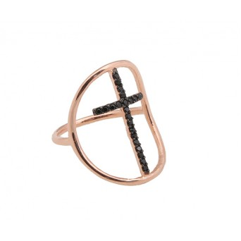 VFJ Silver cross ring with rose gold and black zirconia