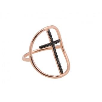 VFJ Ασημένιο δαχτυλίδι σταυρός με ροζ επιχρύσωμα και ζιργκόν