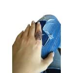 VFJ Ασημένιο δαχτυλίδι ιστός αράχνης με λευκά ζιργκόν