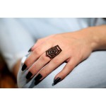 VFJ Ασημένιο δαχτυλίδι ιστός αράχνης με μαύρα ζιργκόν