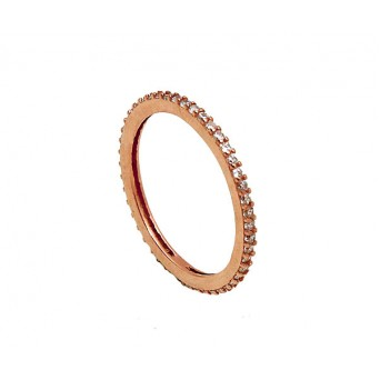 VFJ Silver band ring with rose gold and white zirconia