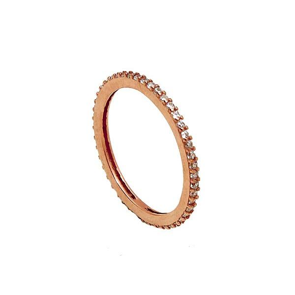VFJ Ασημένιο ολόβερο δαχτυλίδι ροζ χρυσό και λευκά ζιργκόν