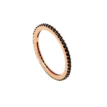 VFJ Silver band ring with rose gold and black zirconia
