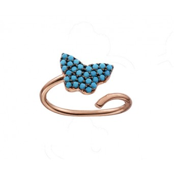 VFJ Silver butterfly ring with rose gold and turquoise
