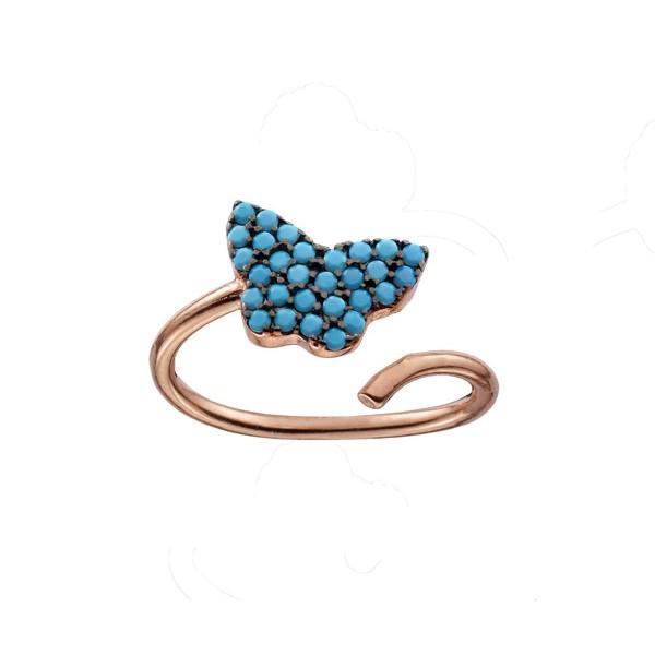VFJ Σεβαλιέ δαχτυλίδι πεταλούδα με ροζ ασήμι και τιρκουάζ