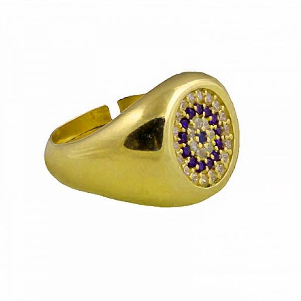 VFJ Ασημένιο χρυσό σεβαλιέ δαχτυλίδι μάτι στόχος με ζιργκόν