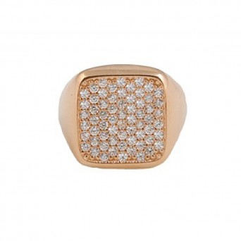 VFJ Chevalier square ring with rose gold and white zirconia