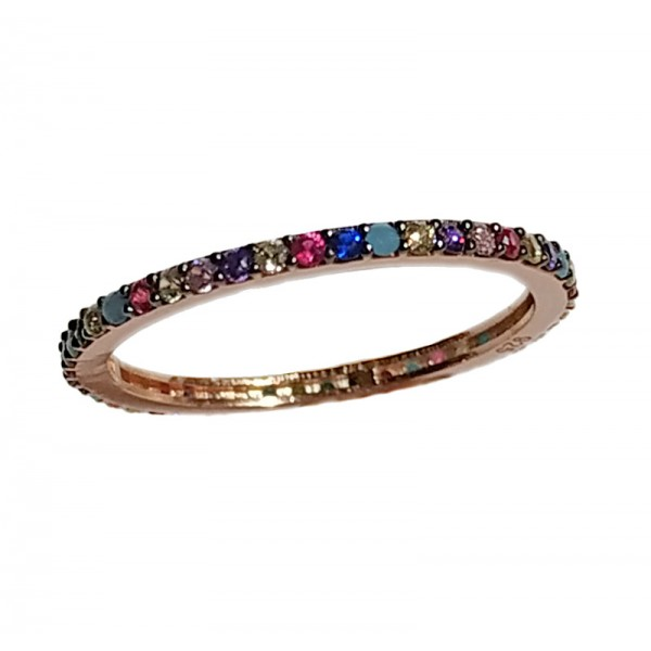 VFJ Rose silver band ring with multicolored zirconia