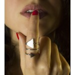 VFJ Ασημένιο δαχτυλίδι τυλιχτό με τρίγωνα