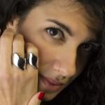 RNG Σκέτο ασημένιο δαχτυλίδι σωλήνας με καμπύλες