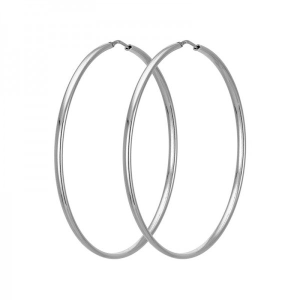 VFJ Plain big silver hoop earrings 5.5 cm
