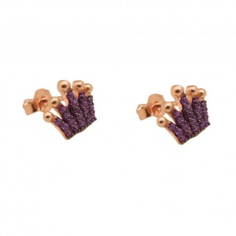 VFJ Rose Sterling Silver Purple Zirconia Crown Earrings