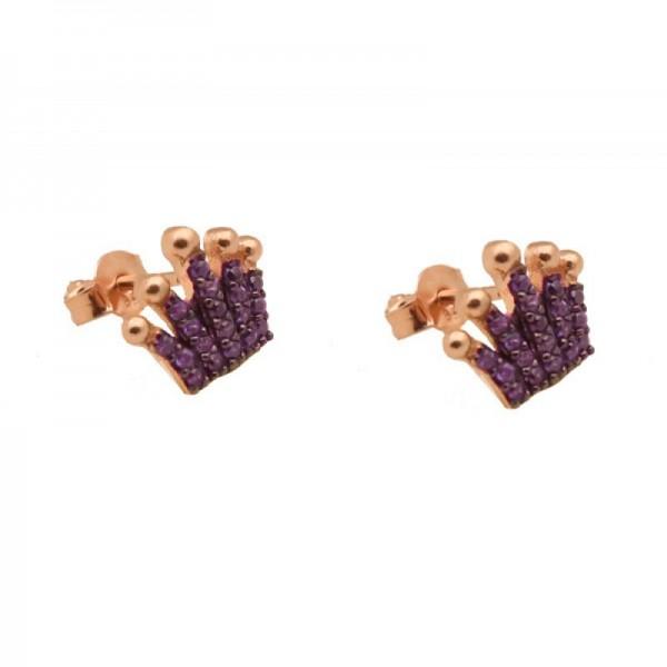 VFJ Ασημένια καρφωτά σκουλαρίκια κορώνα με μωβ ζιργκόν