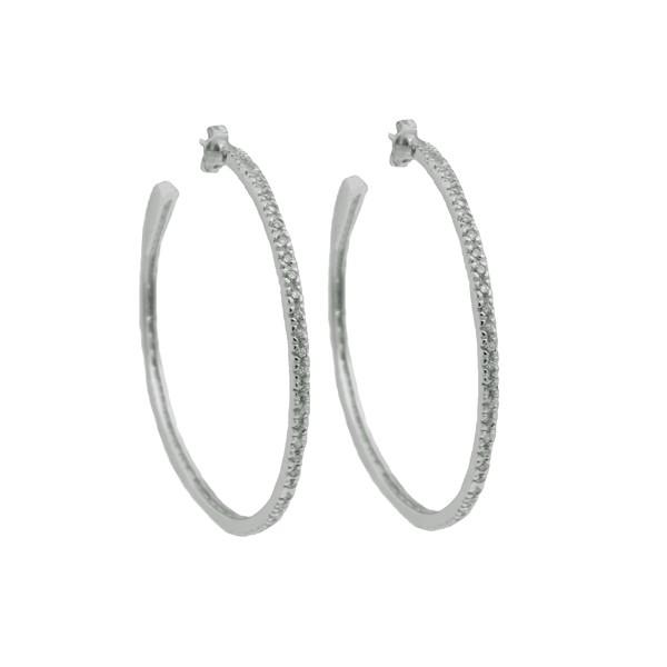 VFJ Ασημένια σκουλαρίκια κρίκοι με λευκά ζιργκόν