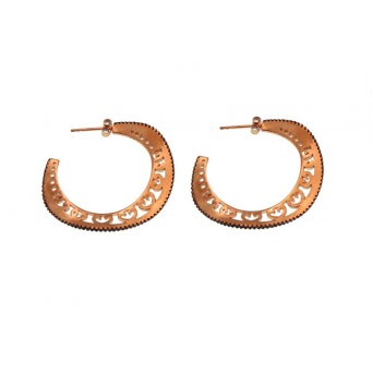 VFJ Rose Gold Silver Pave Black Zirconia Hoop Earrings